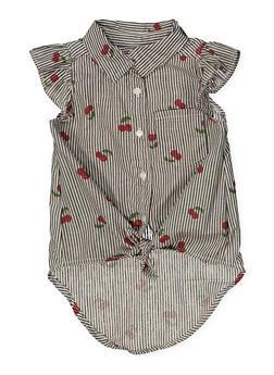Girls 4-16 Cherry Print Striped Shirt - 1606038340148