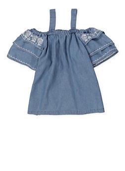 Girls 7-16 Embroidered Denim Off the Shoulder Top - 1606038340152