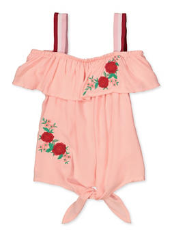 Girls 7-16 Embroidered Tie Front Top - 1606038340156