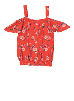 Girls 7-16 Floral Button Front Off the Shoulder Top - 1606048370005