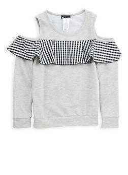 Girls 7-16 Gingham Ruffle Cold Shoulder Top - 1606061950015