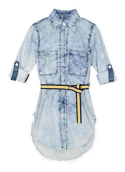 Girls 7-16 Belted Denim Tunic Shirt - 1606063400020