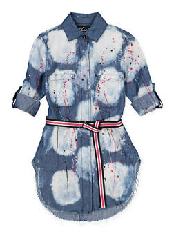 Girls 7-16 Paint Splatter Denim Tunic Shirt - 1606063400023