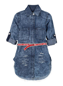 Girls 7-16 Graphic Belted Denim Tunic Shirt - 1606063400025