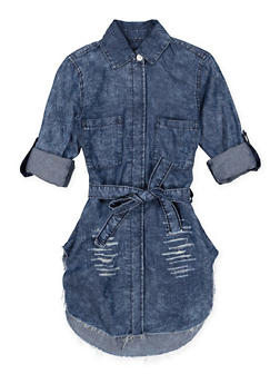 Girls 7-16 Tie Waist Denim Tunic Shirt - 1606063400026