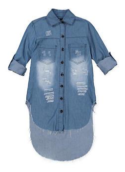 Girls 7-16 Distressed Denim Tunic Shirt | Medium Wash - 1606063400029