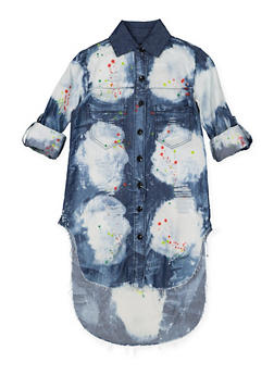 Girls 7-16 Paint Splatter Denim Tunic Shirt - 1606063400035