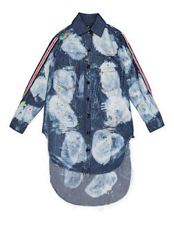 Girls 7-16 Paint Splatter Denim Tunic Top - 1606063400036