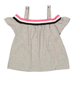 Girls 6-16 Striped Tape Off the Shoulder Top - 1606073990004