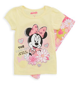 Girls 4-6x Glitter Graphic T Shirt and Floral Leggings - 1607009290047