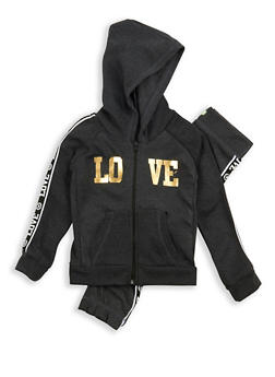 Girls 4-8 Love Graphic Zip Up Sweatshirt and Joggers - 1607038340005