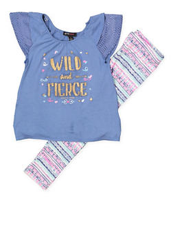 Girls 4-6x Wild and Fierce Top with Leggings - 1607038340049