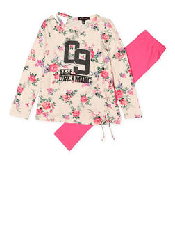 Girls 4-6x Keep Dreaming Cut Out Top with Leggings - 1607038340055