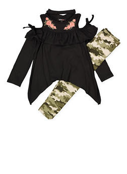 Girls 4-6x Asymmetrical Cold Shoulder Top with Leggings - 1607038340090