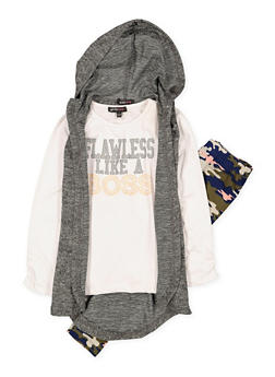 Girls 4-6x Flawless Like a Boss Tee with Vest and Leggings - 1607038340100