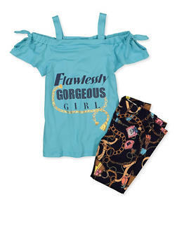 Girls 4-6x Flawlessly Gorgeous Girl Top with Leggings - 1607038340116