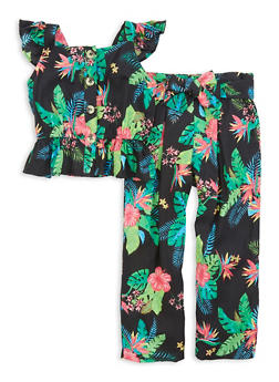 Little Girls Tropical Print Sleeveless Top and Belted Pants - 1607038340132