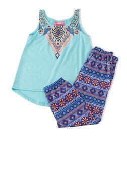 Girls 4-6x Tribal Print Sleeveless Tank And Leggings Set - 1607048370013