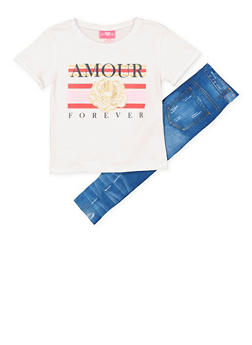 Girls 4-6x Amour Forever Tee with Denim Print Leggings - 1607048370031