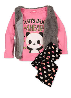 Girls 4-6x Happy Days Ahead Tee with Vest and Leggings - 1607048370035
