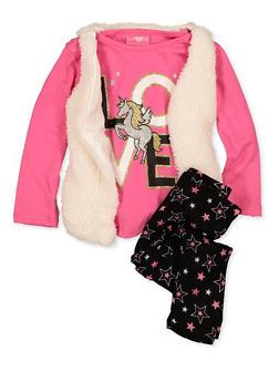 Girls 4-6x Love Unicorn Tee with Vest and Leggings - 1607048370037