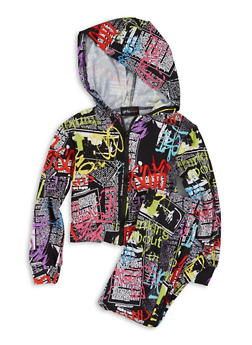 Little Girls Printed Zip Front Hooded Top and Leggings - 1607051060004