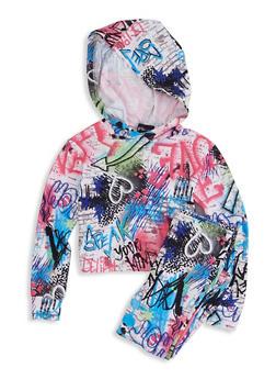 Little Girls Graffiti Long Sleeve Hooded Top and Leggings - 1607051060005