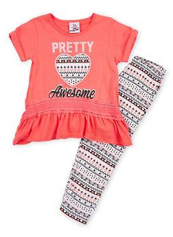 Girls 4-6x Graphic Peplum Top with Printed Leggings Set - 1607054730024