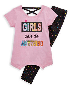 Girls 4-6x Striped Graphic T Shirt with Heart Print Leggings - 1607054730028