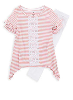 Girls 4-6x Striped Crochet Insert Top with Leggings - 1607061950064