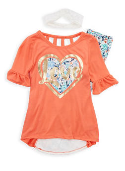 Girls 4-6x Graphic Top with Soft Knit Leggings and Headband - 1607061950068