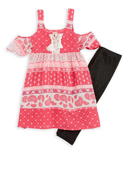Girls 4-6x Cold Shoulder Top with Denim Knit Leggings - 1607061950077