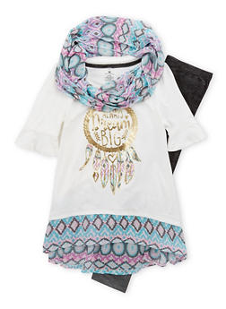 Girls 4-6x Foil Graphic Top with Denim Knit Leggings and Scarf - 1607061950078