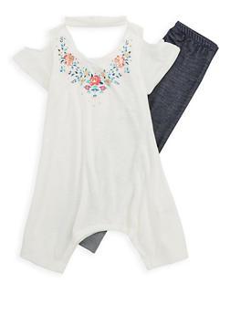 Girls 4-6x Floral Cold Shoulder Top and Denim Knit Leggings - 1607061950082