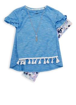 Girls 4-6x Tassel Trim T Shirt and Printed Leggings Set - 1607061950083