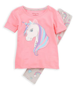 Girls 4-6x Unicorn Graphic Top with Leggings - 1607061950094