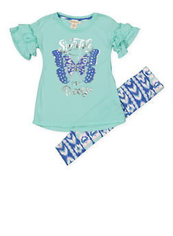 Girls 4-6x Foil Graphic Tee and Printed Leggings - 1607061950127