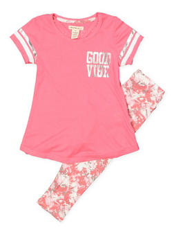 Girls 4-6x Good Vibe Girl Squad Tee with Printed Leggings - 1607061950133