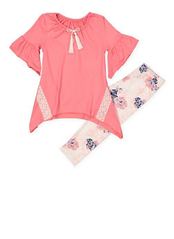 Girls 4-6x Bell Sleeve Top and Printed Leggings Set - 1607061950134