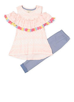 Girls 4-6x Fringe Trim Printed Top and Leggings Set - 1607061950136