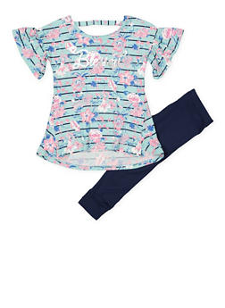 Girls 4-6x Blessed Printed Top with Leggings - 1607061950142