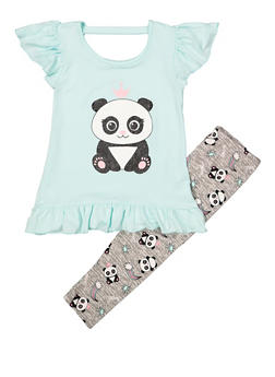 Girls 4-6x Panda Ruffle Top with Leggings - 1607061950151