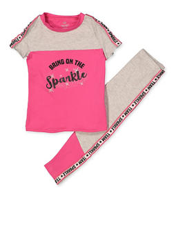 Girls 4-6x Bring On the Sparkle Tee with Leggings - 1607063370010