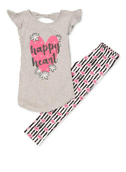 Girls 4-6x Happy Heart Tee with Floral Striped Leggings - 1607063370014