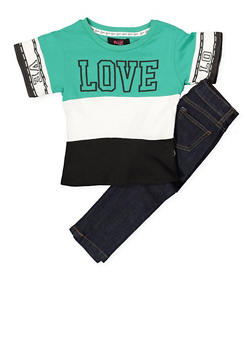Girls 4-6x Love Graphic Tee and Jeans Set - 1607063400021