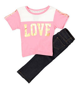 Girls 4-6x Love Color Block Tee with Jeans - 1607063400022