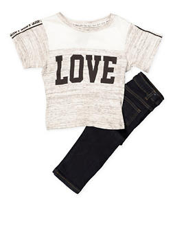 Girls 4-6x Love Color Block Tee and Skinny Jeans - 1607063400023