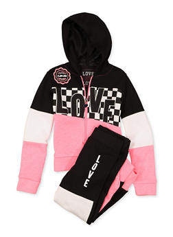 Girls 4-6x Love Color Block Sweatshirt and Joggers | 1607063400037 - 1607063400037