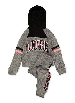Girls 4-6x Love Graphic Sweatshirt and Joggers - 1607063400040