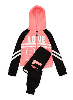 Girls 4-6x Love 94 Sweatshirt with Joggers - 1607063400042